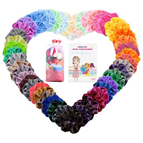 50 Piezas Scrunchies Terciopelo, MeaMae Care scrunchies terciopelo accesorios para mujer banda el cabello banda de goma cinturon de terciopelo multicolor para mujeres ninas accesorios