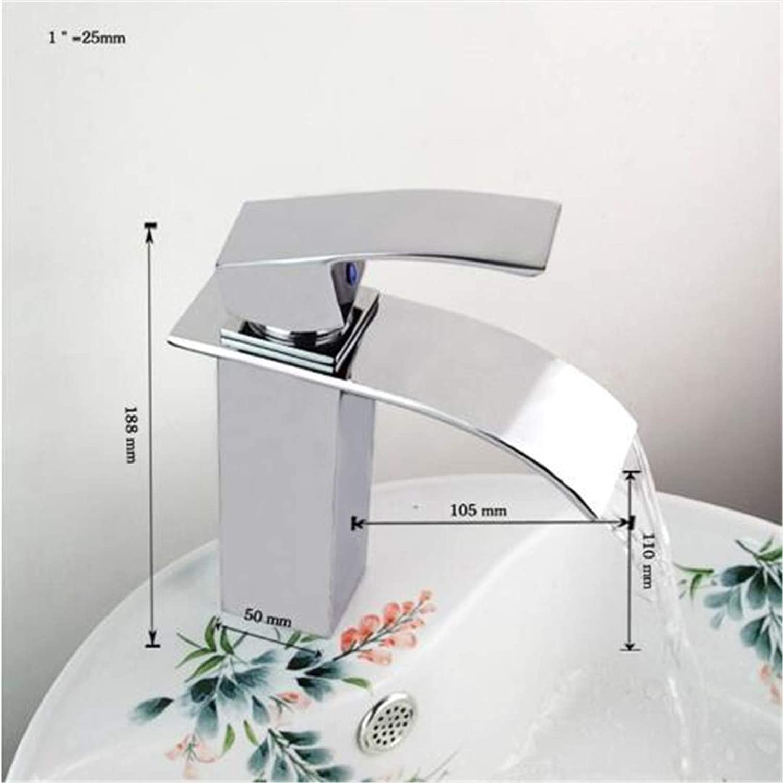 Oudan Bathroom Basin Faucet Kitchen Faucet Hot and Cold Taps Crossbathroom Faucet Ceramic Waterfall Chrome Brass Basin Faucet Lavatory Combine Set Faucet,Mixer Tap (color   -, Size   -)