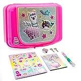 Hot Focus Llama Pencil Case for Girls, Pink, Art Treasure Box with Sparkling Padlock, 2 Keys, Llama Narwhal Stickers, 1 Neon Gel Pen and 1 Notepad, 426MF
