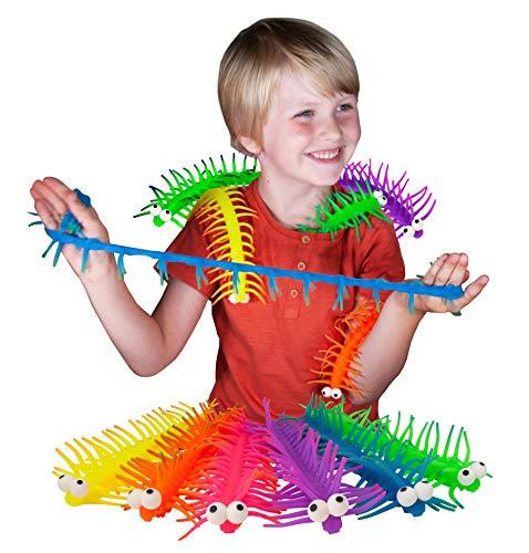 Stretchipede de Deluxebase. Juguete Antiestrés con Forma de Ciempiés Mega Elástico. Coloridos Juguetes Blandos y Flexibles para niños, Ideales para calmar el estrés y la ansiedad