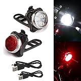 TriLance - Juego de luces LED para bicicleta (homologadas por la Ley alemana alemana StVZO, recargable por USB, iluminación para bicicleta, resistente al agua IPX4, para bicicleta de montaña)
