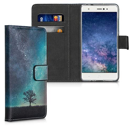 kwmobile Wallet Hülle kompatibel mit bq Aquaris X/X Pro - Hülle mit Ständer Kartenfächer Galaxie Baum Wiese Blau Grau Schwarz