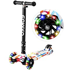 ADJUSTABLE KICK KIDS SCOOTERS: T style handlebar locks in place and extends from 24.4 to 33.3 inches; 3 adjustable height options (29/31.5/33.3 inches), recommended for ages 3 and up PU FLASHING WHEELS: unique 3 large scooters wheels wear resistant d...