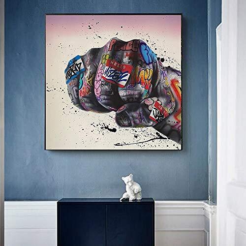 KWzEQ Cuadro En Lienzo Puño Inspirador Arte de la Pared Imagen Obra de Arte en la decoración del hogar Sala de Estar,40x40cm,Pintura sin Marco