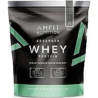 Marca Amazon - Amfit Nutrition Proteína Whey de suero de leche sabor chocolate y menta, 32 porciones,  990 g