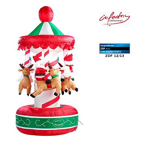 infactory Aufblasbares Karussell: Selbstaufblasendes Weihnachtskarussell 2 Meter (aufblasbar Weihnachten)