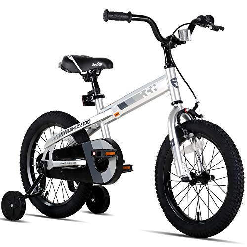 JOYSTAR 18 Inch Kids Bike with Training Wheels for Ages 6 7 8 9 Years Old Boys and Girls, Children Bicycle with Handbrake for Early Rider, Silver