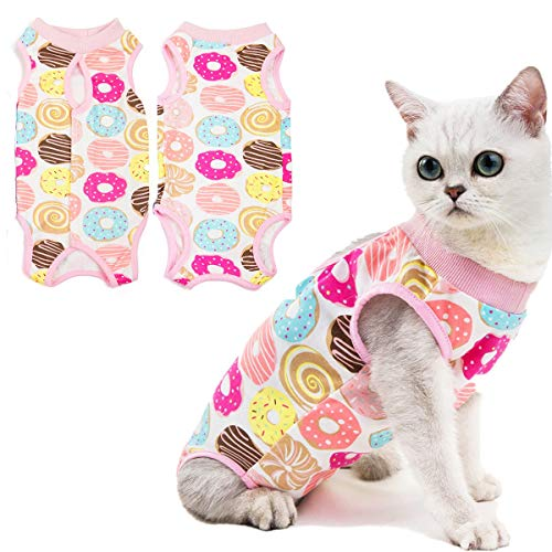 Coppthinktu Katzen-Erholungsanzug für Bauchwunden oder Hauterkrankungen, atmungsaktiv, für Katzen, chirurgische Genesungsanzug, für Katzen, E-Halsband, Alternative nach Operationen, Tragen gegen Lecken von Wunden