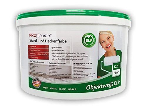 Wandfarbe 300-31-AP PROFHOME Objektweiß Innenfarbe Farbe hochergiebig gut deckend matt weiß ELF 12,5 Liter Eimer für max. 85 qm