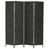 vidaXL Biombo Separador 4 Paneles Plegables Divisor Ambientes Decorativo Metal Jacinto Agua Paravientos Protección Privacidad Jardín Terraza Negro