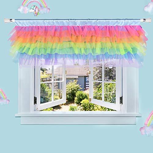 Rainbow Valance for Girls Bedroom Tulle Tutu Unicorn Valance for Baby Nursery Room Window 52' × 16'(Unicorn Room Decor)