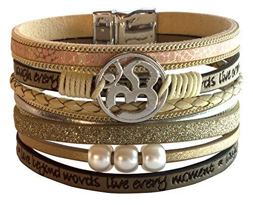 Pulsera bohemia para mujer Om – Aum – piel sintética beige con símbolo y perlas de metal, 7 hilos, 19 x 4 cm, 30 g, alta calidad, moda y espiritual