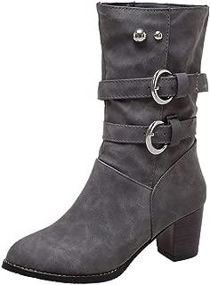 TAOFFEN Women Fashion Block Mid Heel Short Boots