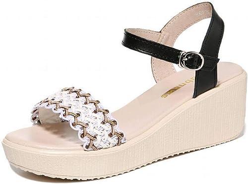 LTN Ltd - sandals Slope avec Semelle épaisse Sandales en Cuir Femme Fée Vent été Chaussures Femmes, Noir, 39