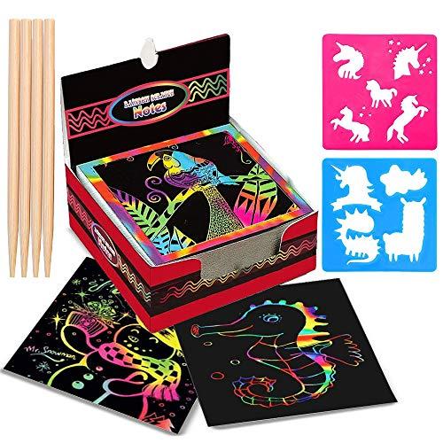 Kratzbilder für Kinder,Aivatoba Mädchen Geschenke Blätter Regenbogen Kratzpapier zum Zeichnen Bastelset Kinder für 3-12 Jahre Mädchen Jungen