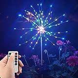Lámparas solares LED para jardín, fuegos artificiales, luz decorativa para exteriores, con mando a distancia, 8 modos de iluminación, IP44(3 unidades)