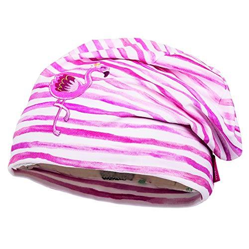 maximo Mädchen Mini-Beanie, Dunkelpink-weiße Streifen mit pinken Flamingo, Made in Germany (47)