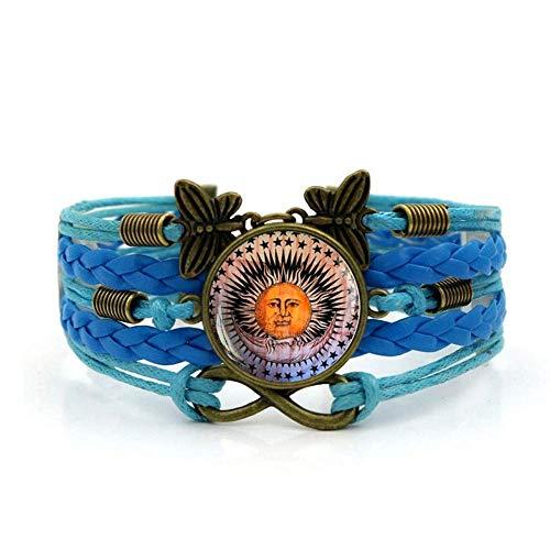 QZH Pulseras tejidas para niñas, cuerda azul hermoso arte sol luna,pulsera de piedras preciosas de varias capas de vidrio tejido a mano joyería de moda de estilo europeo y americano