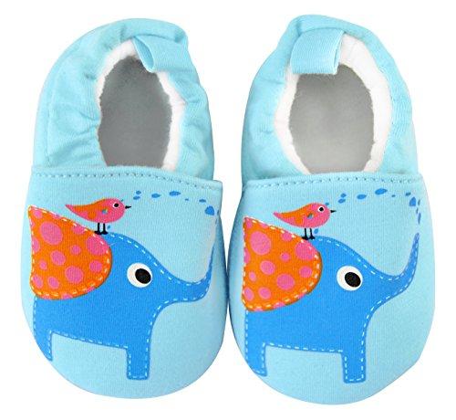 axy Chaussons en tissu pour bébé de 0 à 12 mois - Éléphant - Bleu - bleu, 0-6 Monate