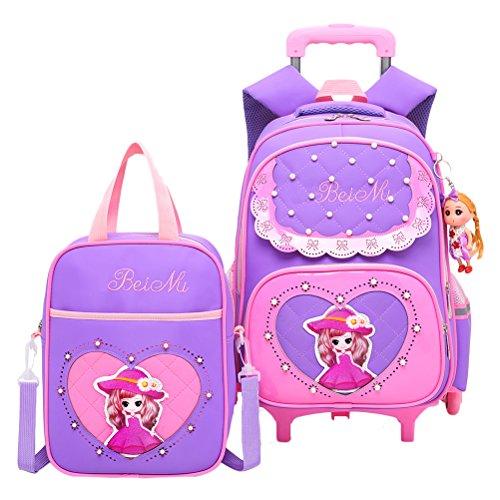 Zhhlinyuan Schüler Mädchen Fahrbar Rucksack Mode Wheeled School Bag Kinder Schulranzen Ideal für 1-6 Grad Schule Studenten
