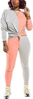 Womens Casual 2 Piece Outfits Color Block Long Sleeve T Shirt Top + Bodycon Pants Sport Tracksuit Set Jumpsuit S-3XL