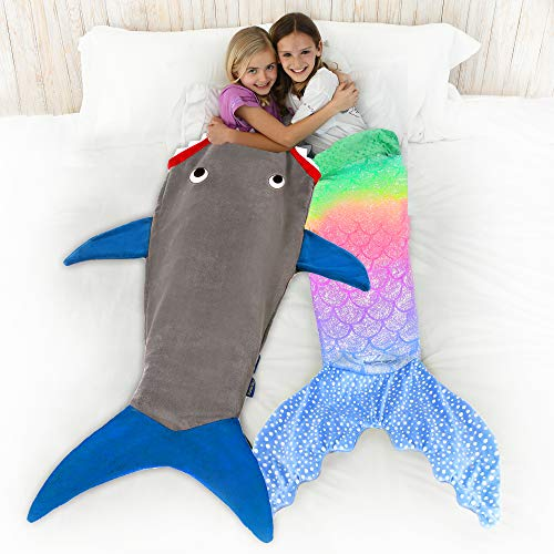 """Product Image 3: Blankie Tails   Shark Blanket, New Shark Tail Double Sided Super Soft and Cozy Minky Fleece Blanket, Machine Washable Wearable Blanket (56"""" H x 27"""" (Kids Ages 5-12), Glow in The Dark – Gray & Blue)"""