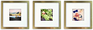 Tiny Mighty Frames 3-Set, Brushed Metal, Square Instagram Photo Frame, 8x8 (4x4 Matted) (3, Gold)