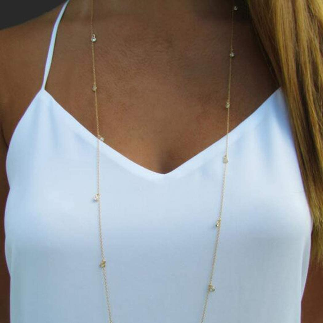 San Diego Mall Adflyco Boho Attention brand Long Necklace Crystal Gold Pendant Necklaces Chain