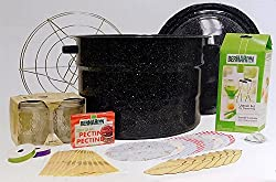 canning starter kit with hot water bath, canning labels, lids, mason jars, section and tool set including magnetic wand, jar grabber and funnel