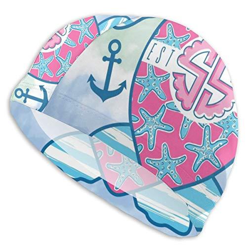 YOLMKG Tie-Dyed Tortoise Nautical Anchor Swim Cap Durable Elasticity Swimming Cap Breathable Fit Both Long Hair Short Hair for Woman Girls Men Kids