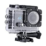 Andoer® 4 K 1080 P Wifi Cam 16MP Cámara 5,08 cm ULTRA-HD LCD 170°Wide angular w/buceo 30 m funda impermeable, pantalla de 2.0 inches, color amarillo