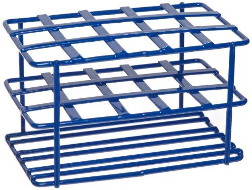 Heathrow Scientific HD23215 Gefäßständer für 15 mL Röhrchen, Epoxy beschichteter Stahl, 127 mm Länge x 76 mm Breite x 76 mm Höhe, Blau