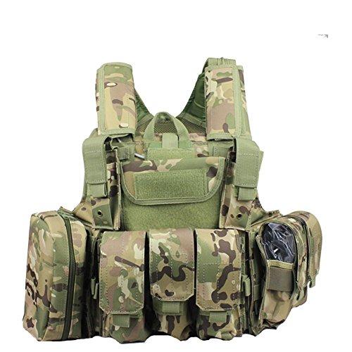 ATAIRSOFT Militär Armee Schwer Pflicht MOLLE Kampf Weste/Schulung Schutz Geborgenheit Weste mit Beutel Multicam(MC) für Taktisch Jagd Airsoft Außen Camping