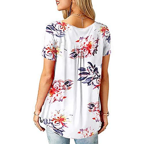 Blusa Casual de Mujer Cuello en V Botón para Arriba Túnica Tops Camisas Camisas para Mujer Volantes Túnica Suelta para Arriba Camisetas Casuales Camiseta Suelta Floral Tops de Verano Blusas Túnica