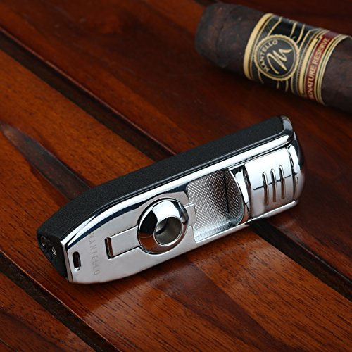Mantello Cabinet Triple Jet Flame Butane Torch Lighter - Built-In Cigar Punch Attachment - Premium Refillable Lighter with Textured Grip - Accessory for Smoking Tobacco, Cigarettes - Gifts for Smokers