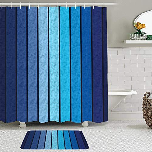 ZELXXXDA Juegos de Cortinas de Ducha con alfombras Antideslizantes,Estampado de Placas Azul Marino con Bordes AZ, Alfombra de baño + Cortina de Ducha con 12 Ganchos