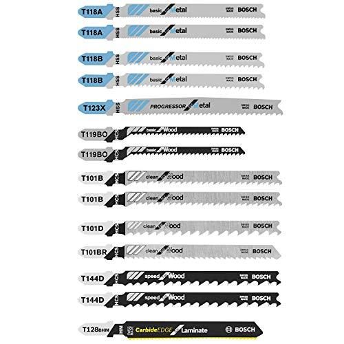 Bosch 14 pc. Laminate/Wood/Metal T-Shank Jig Saw Blade Set T14C