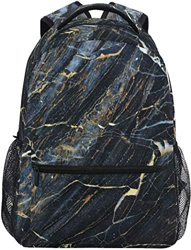MODORSAN Mochila escolar informal Mochila de viaje ligera de mármol oscuro Mochila universitaria para mujeres niñas adolescentes