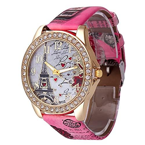 Reloj para Mujer Colorido Torre Eiffel Love Watch Rose Red