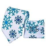 FDHFC SedaAzul Blanco De Los Hombres DeSedaLazos De La Moda Floral De La Nieve para Los Hombres Corbata Pocket Square Set Lazos De Boda De Belleza