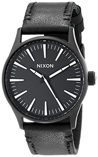 Nixon Armbanduhr Sentry Leder Black / White