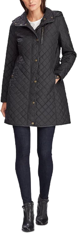 Lauren Ralph Lauren Women's Black Faux Suede-Trim Quilted Coat