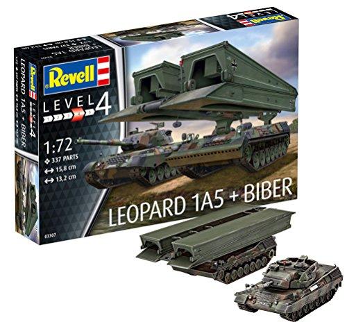 Revell Modellbausatz Panzer 1:72 - Leopard 1A5 + Biber im Maßstab 1:72, Level 4, originalgetreue Nachbildung mit vielen Details, 03307