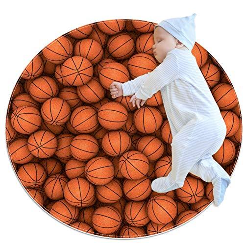 LKJDF Alfombra redonda de juego para gatear con aire acondicionado, dormitorio infantil para niños, balones de baloncesto y deportes