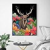 DCLZYF Nórdico jardín Nocturno Ciervos Lienzo Pintura Pared Animal Arte imágenes Impresiones Cartel de Pared Sala de Estar decoración del hogar-40x50cm (sin Marco)
