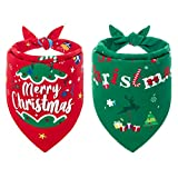 BINGPET Reversible Christmas Dog Bandana 2 Pack - Soft and Durable Pet Scarfs Adjustable Cute Triangle Bibs Kerchief for Dogs and Cats