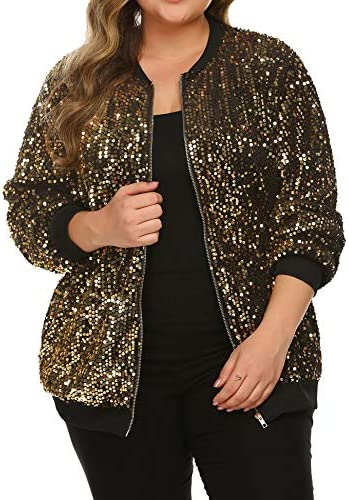 IN VOLAND Womens Sequin Jacket Plus Size Sparkle Long Sleeve Jackets Front Zip Loose Casual product image