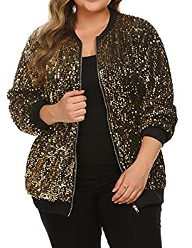 IN VOLAND Womens Sequin Jacket Plus Size Sparkle Long Sleeve Jackets Front Zip Loose Casual Blazer Bomber Jacket With Pocket
