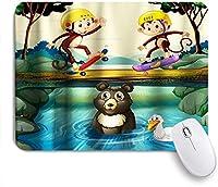 NIESIKKLAマウスパッド かわいい漫画の猿クマの森のテーマ ゲーミング オフィス最適 高級感 おしゃれ 防水 耐久性が良い 滑り止めゴム底 ゲーミングなど適用 用ノートブックコンピュータマウスマット