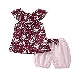 Julhold Summer - Conjunto de ropa para niños y niñas, diseño floral sin mangas y pantalones cortos con lazo, para niños de 0 a 3 años Rojo Vino 6 mes